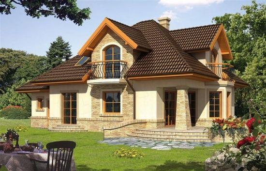 Proiect de casa cu etaj mansardat si balcoane proiecte for Case cu etaj