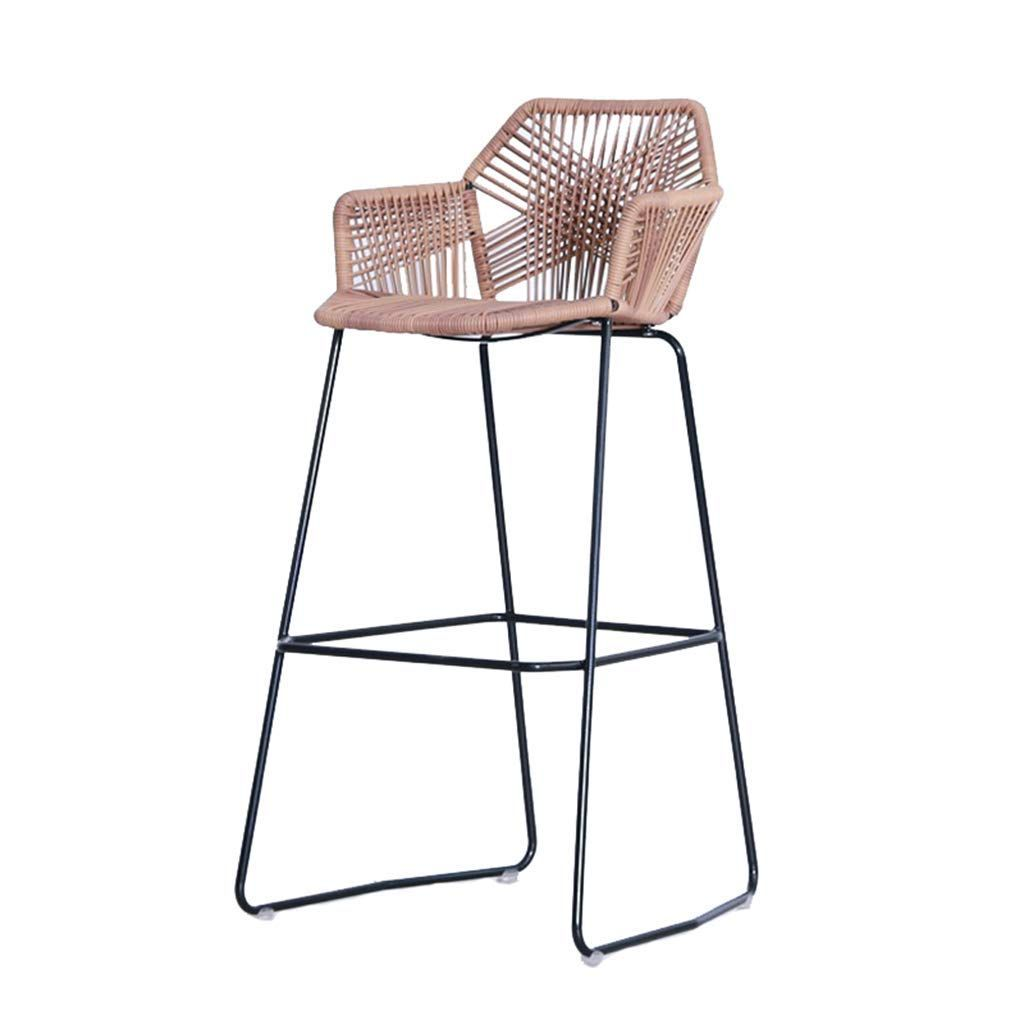 Amazon Com Ms Iron Bar Stool Modern Bar Chair Rattan Seat And