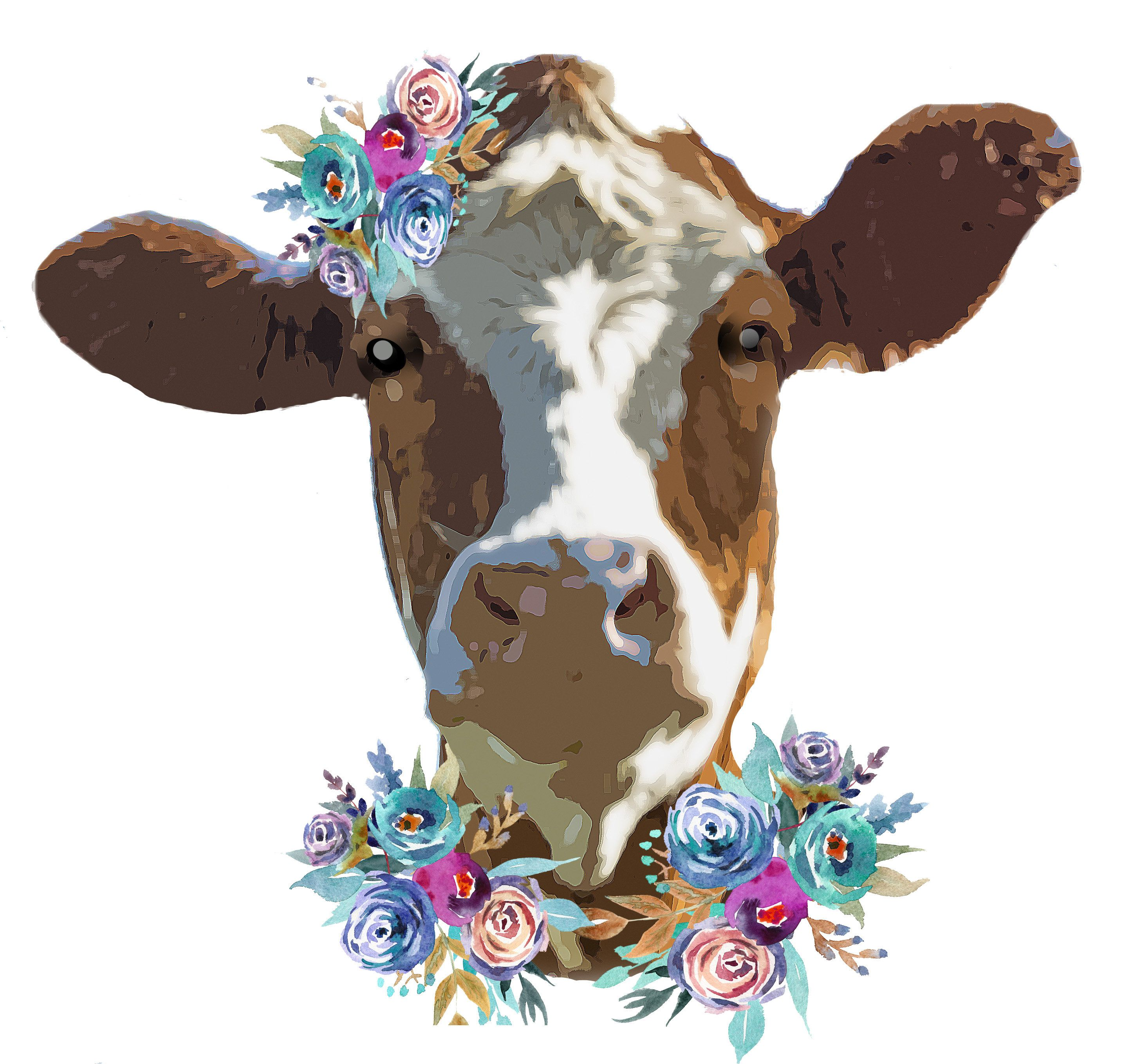 Cow Face Clipart Sublimation Design Watercolor Drawing Cow Lovers Png I 365 Art Cow Face Clip Art Face
