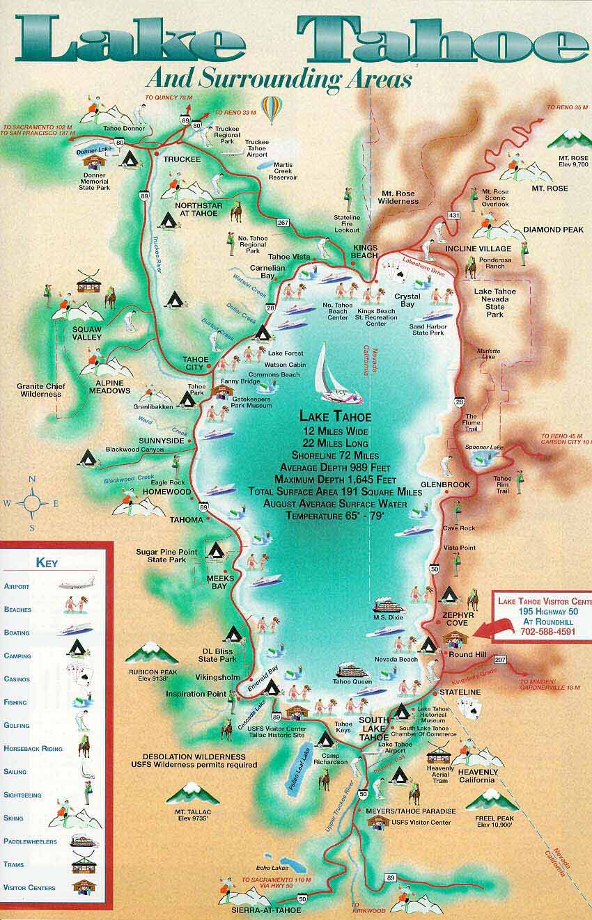 lake tahoe on a map Lake Tahoe Map Camped At The Lake When I Was A Teenager In lake tahoe on a map