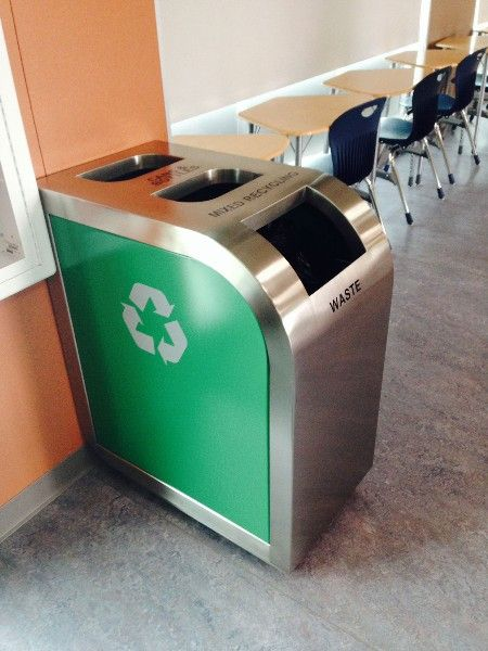 Leaf Triple Stream Recycling Bin Adds Style To Any