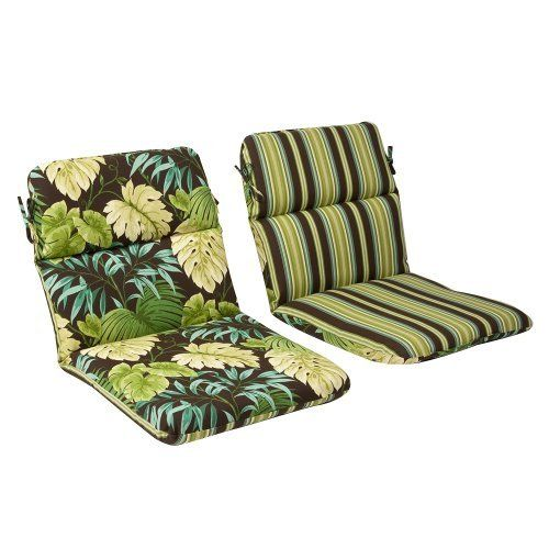 Pillow Perfect Outdoor Green Brown Tropical Striped Reversible