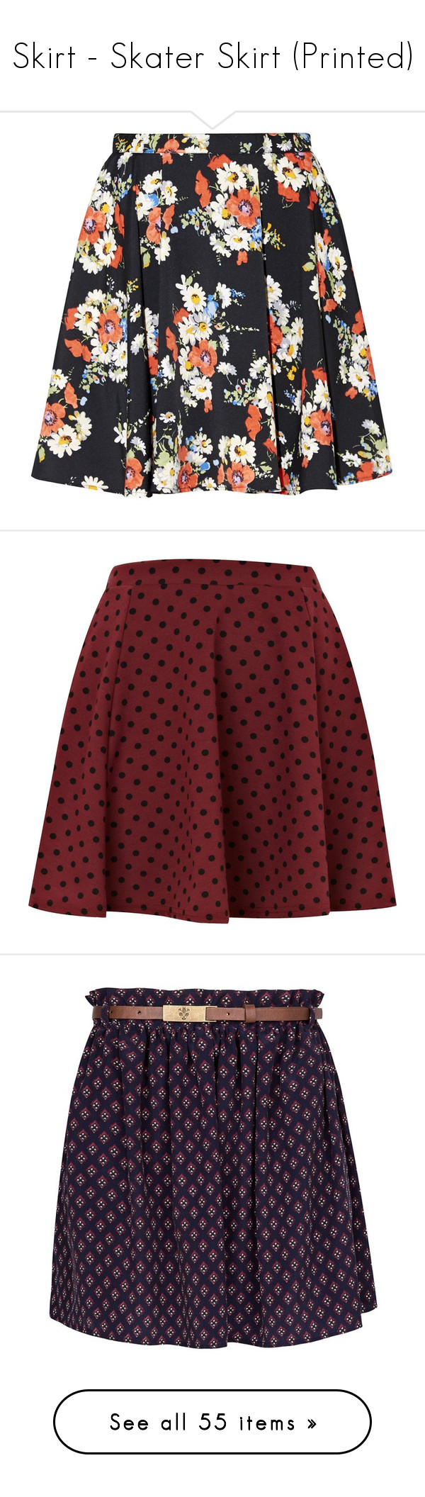 """Skirt - Skater Skirt (Printed)"" by giovanna1995 ❤ liked on Polyvore featuring skirts, bottoms, petite, floral print skirt, floral printed skirt, floral print skater skirt, floral knee length skirt, crop skirt, saias and faldas"