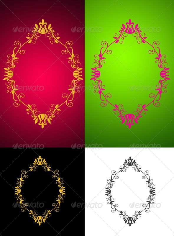 Ornamental Frames  #GraphicRiver         Beautiful Decoration, vector, illustration, frame, ornate, abstract, art, backgrounds, scroll, elegance, leaf, shape, swirl, twisted, curve, corner, modern, gold, invitation, banner, red, graphic, plant, background, silhouette,green.   If you Like it Dn't forget to rate it      Created: 4May13 GraphicsFilesIncluded: VectorEPS Layered: No MinimumAdobeCSVersion: CS Tags: design #floralelements #frame #mirrorframe #ornament #vector #vintage #yellow