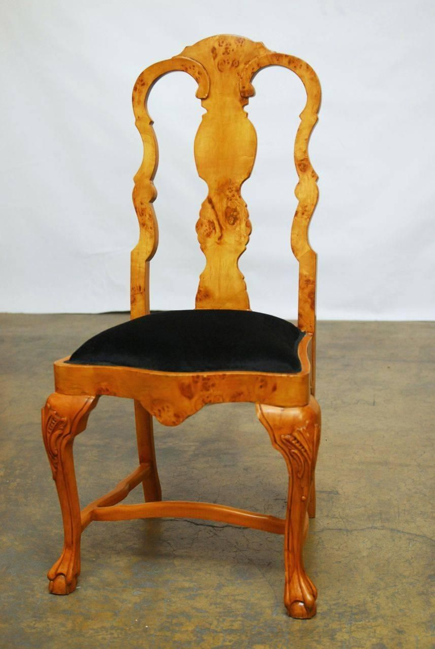 Set of Eight Burl Wood Queen Anne Dining Chairs | From a unique collection  of antique - Set Of Eight Burl Wood Queen Anne Dining Chairs Great House