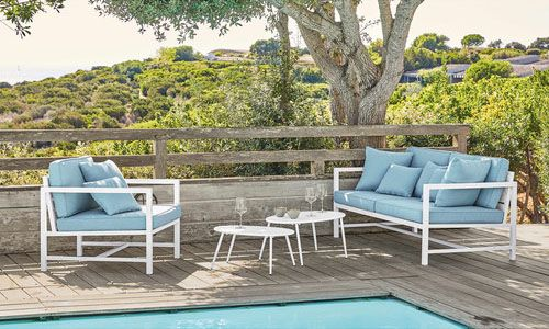 White And Blue Outdoor Furniture, Blue Outdoor Furniture
