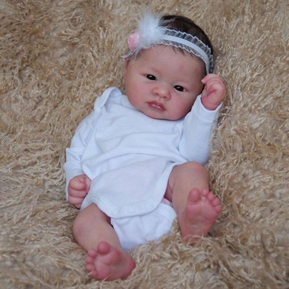 "17/"" Lifelike Body Silicone Reborn Baby Dolls Newborn Vinyl Baby Girl Dolls Gift"