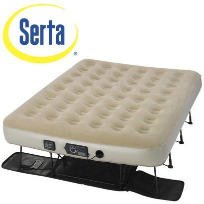 Serta Queen Ez Bed Double High Air Mattress With Built In Pump Mattress Air Bed Queen Mattress Topper