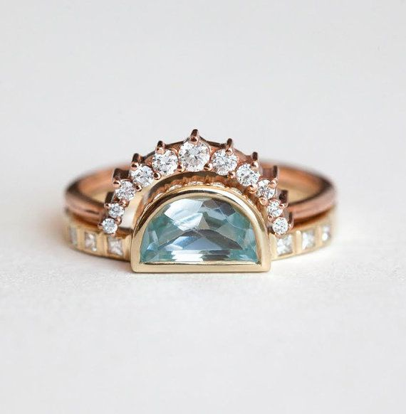 Stacking solid gold half moon rings gold stack half moon rings sapphire stack ring, gold rings set