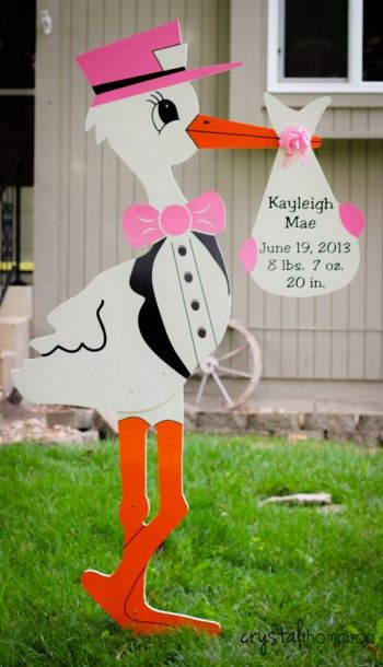 Baby Girl Stork Yard Sign Birth Announcement Kcstorks