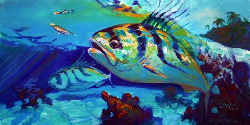Savlen Studios - Roosterfish Fly Fishing Art Print - Here Comes The Rooster, $77.99 (http://www.savlenstudios.com/roosterfish-fly-fishing-art-print-here-comes-the-rooster/)