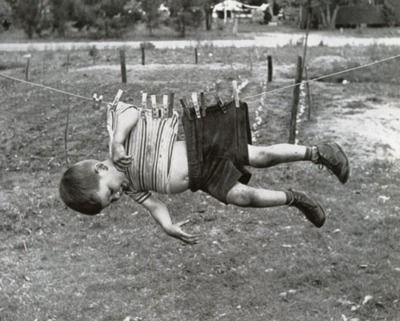 kid on a clothesline !