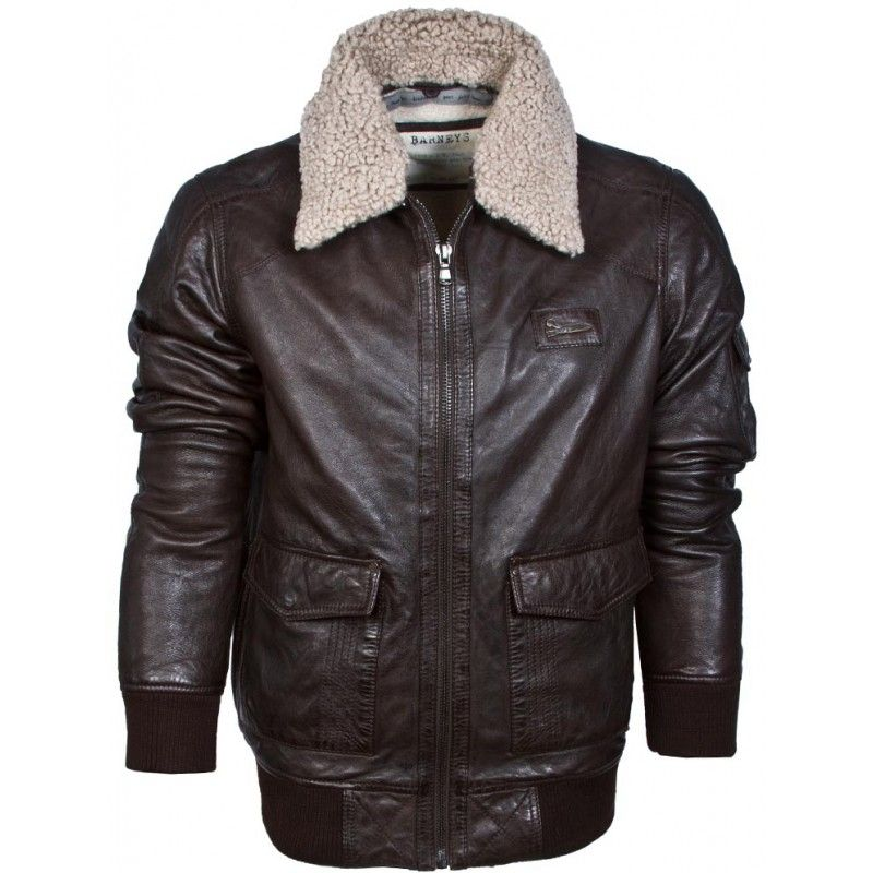 Barneys Vintage Men's Authentic Leather Bomber Aviator Jacket ...