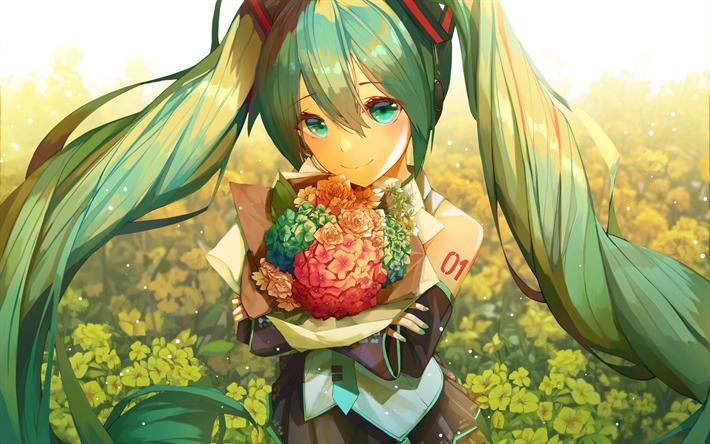Download wallpapers Hatsune Miku, flowers, summer