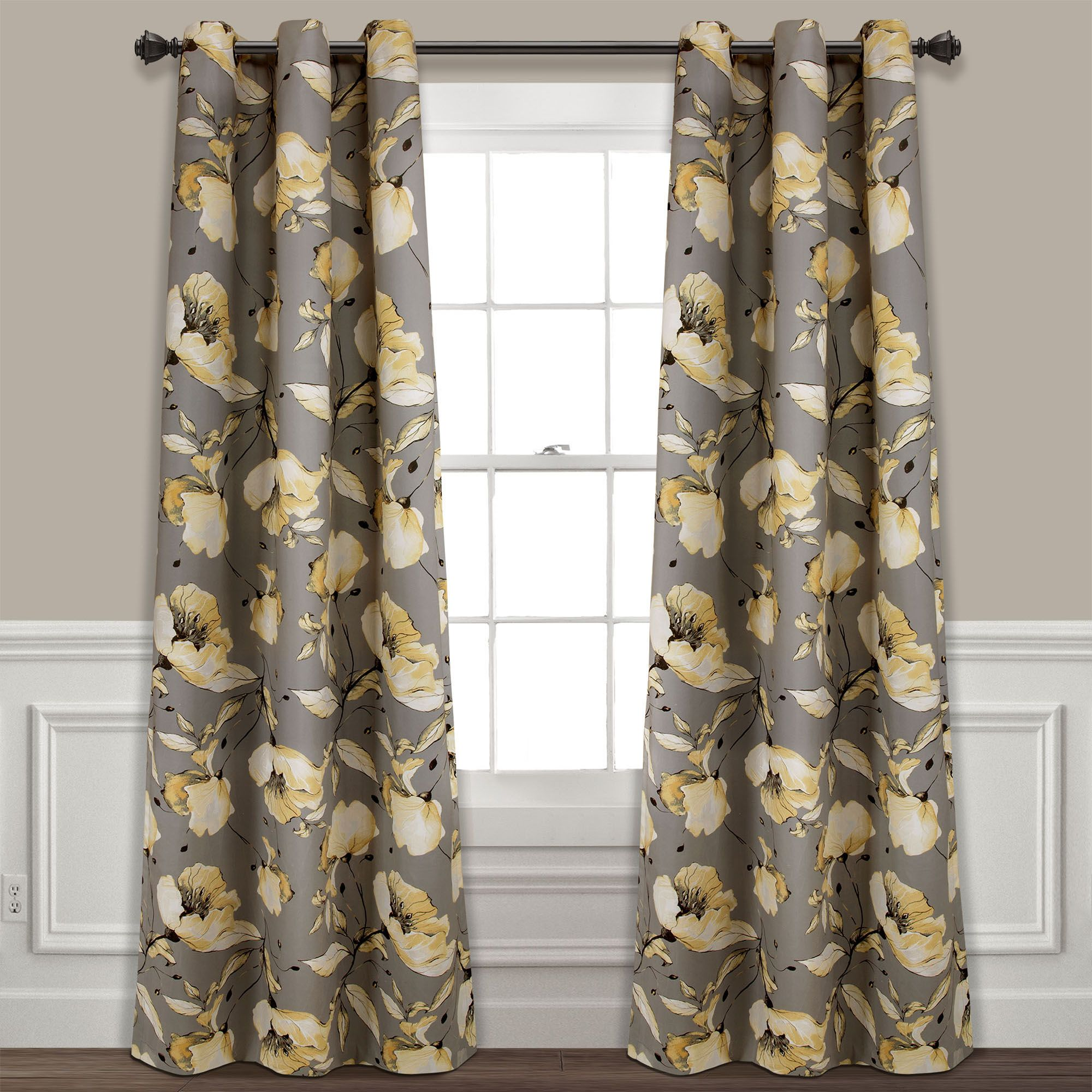 Delsey Floral Absolute Blackout Window Curtain Set Curtains Panel Curtains Window Curtains