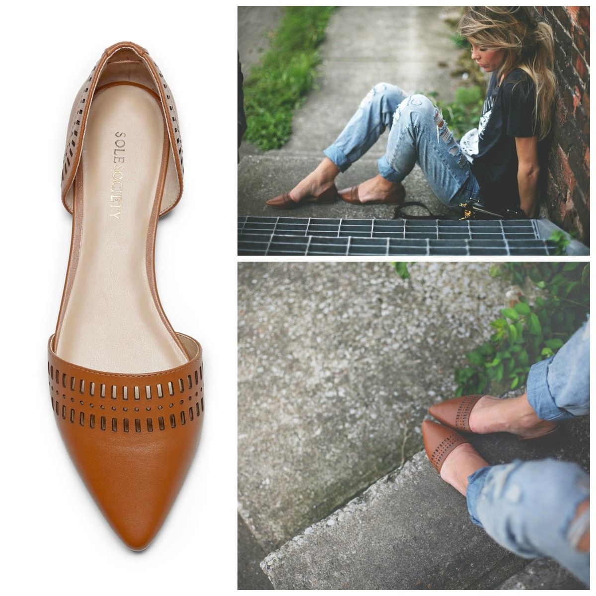 e6339734e0 Genuine leather d'Orsay flats with laser cut detail and slip-on ease.  Designed for all-day comfort.