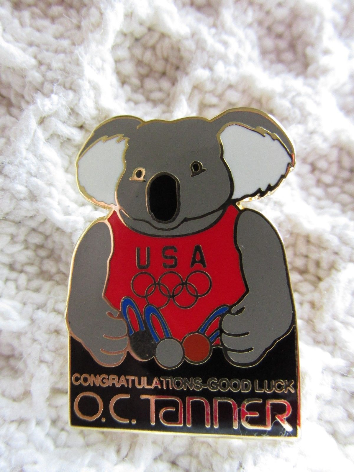 OC Tanner Koala Bear Bridge Pin 2002 Salt Lake Olympics Sponsor Lapel Pin