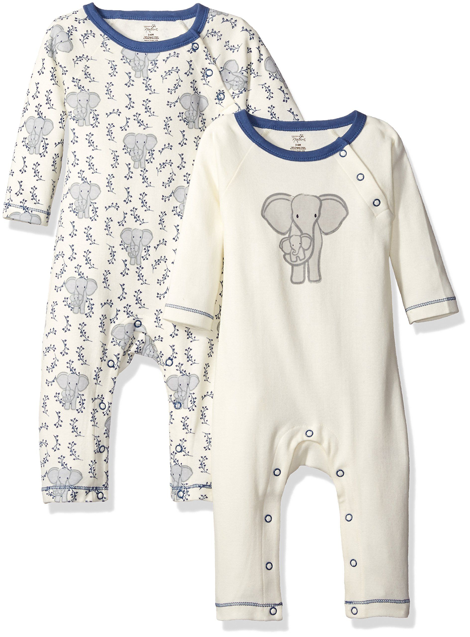 Touched By Nature Baby Organic Cotton Union Suit 2 Pack Elephant 9