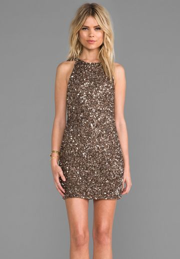 365 Parker Audrey Sequin Dress In Taupe