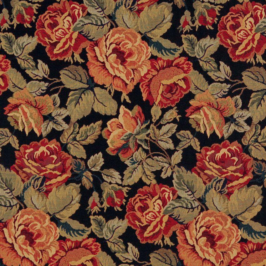Garden Black And Burgundy Floral Tapestry Jacobean Upholstery Fabric Tapestry Fabric Upholstery Fabric Floral Tapestry
