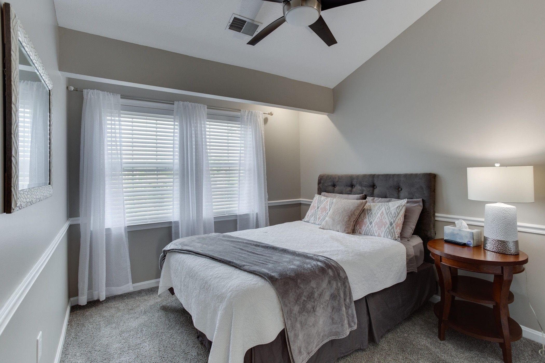 Revere pewter guest bedroom with gray white and pink accents
