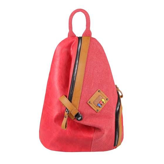 Photo of OBC women backpack city backpack city backpack shoulder bag leather look bag daypack backpack handbag shopper daypack crossbag red
