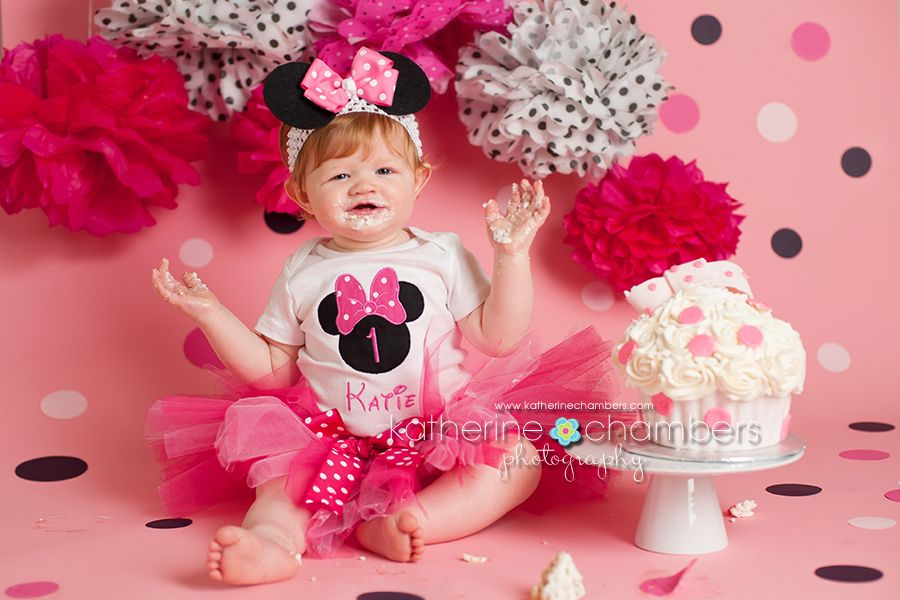 Minnie Mouse cake smash, Cleveland photographer, Katherine ...
