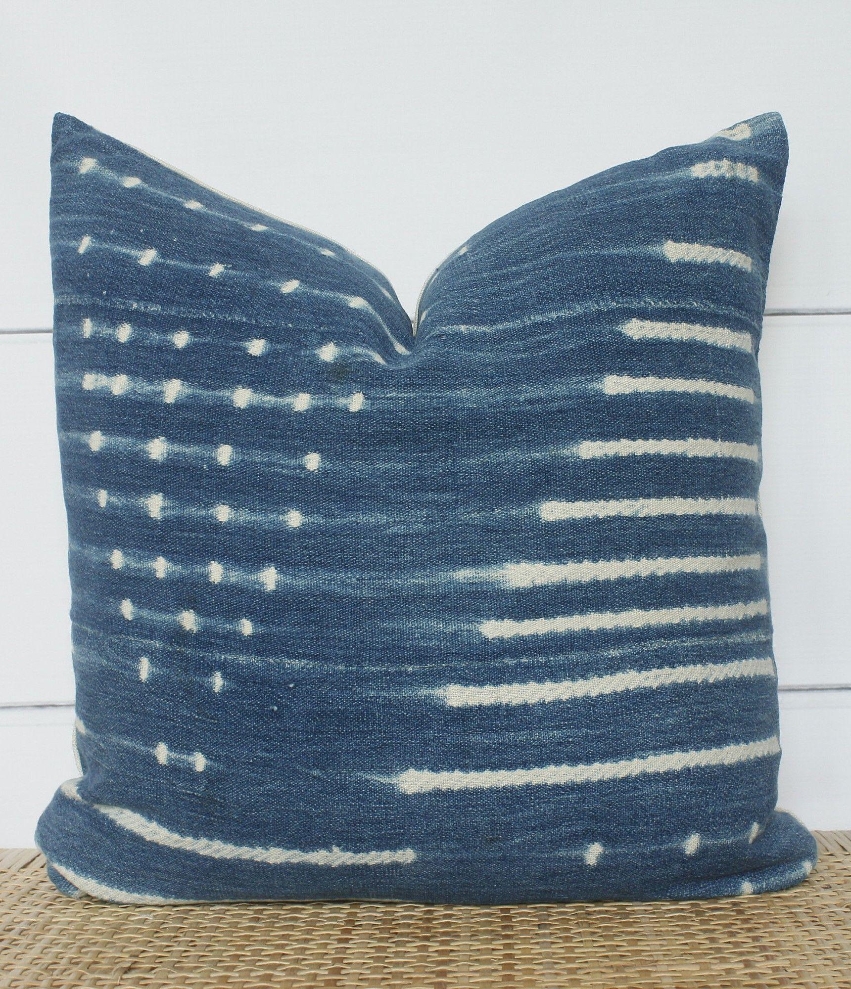 Indigo mudcloth pillow cover x home decor in