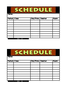 Class Schedule Form  Teacher    Teacher