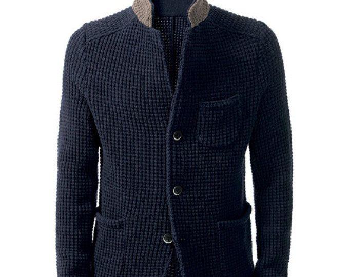 HECHO para los hombres la mano cardigan tejido cuello alto suéter ...