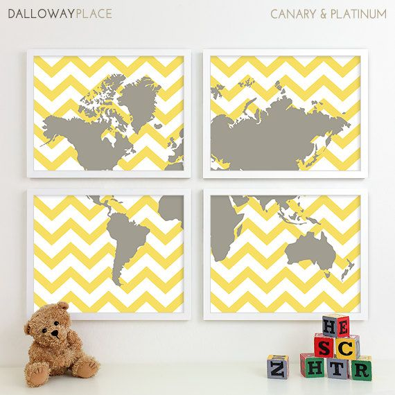 travel nursery art, nursery map of the world map art, baby boys room ...