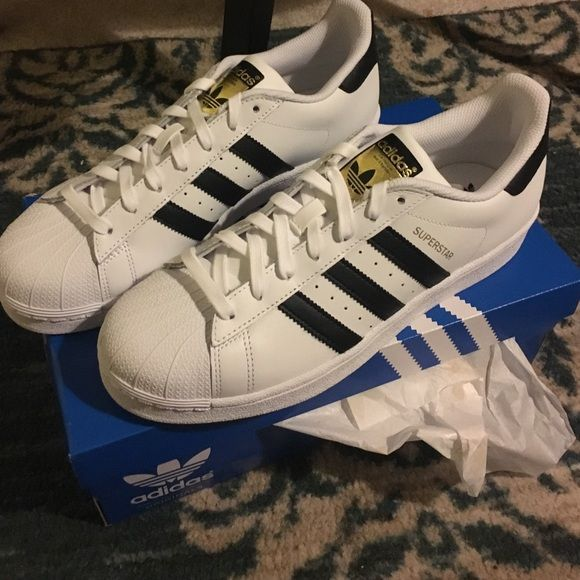 BRAND NEW Womens Adidas Superstars Size 10 Classic Adidas shoes / white  with black stripes and