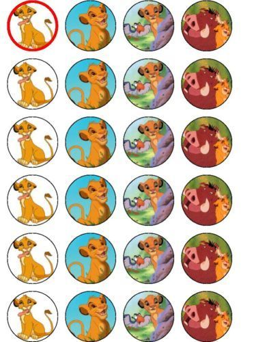 24 X LION KING PARTY BIRTHDAY RICE PAPER CAKE TOPPERS  11563b1fc