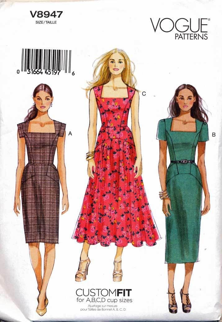 VOGUE SEWING PATTERN 8947 MISSES CUSTOM FIT DRESS WITH LINED BODICE ...