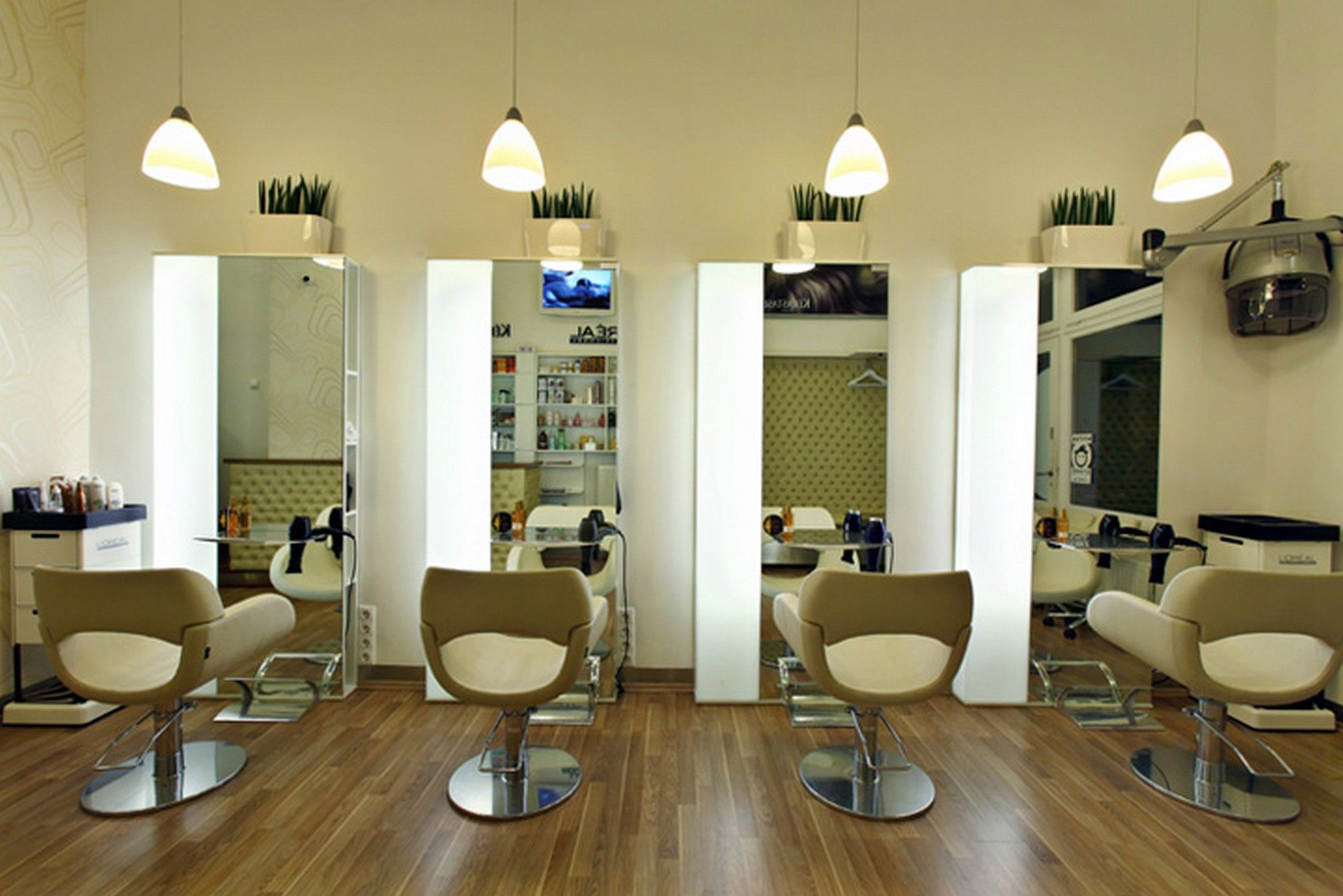 Decorating, Simple Hair Salon Design Ideas And Wooden Floor ...