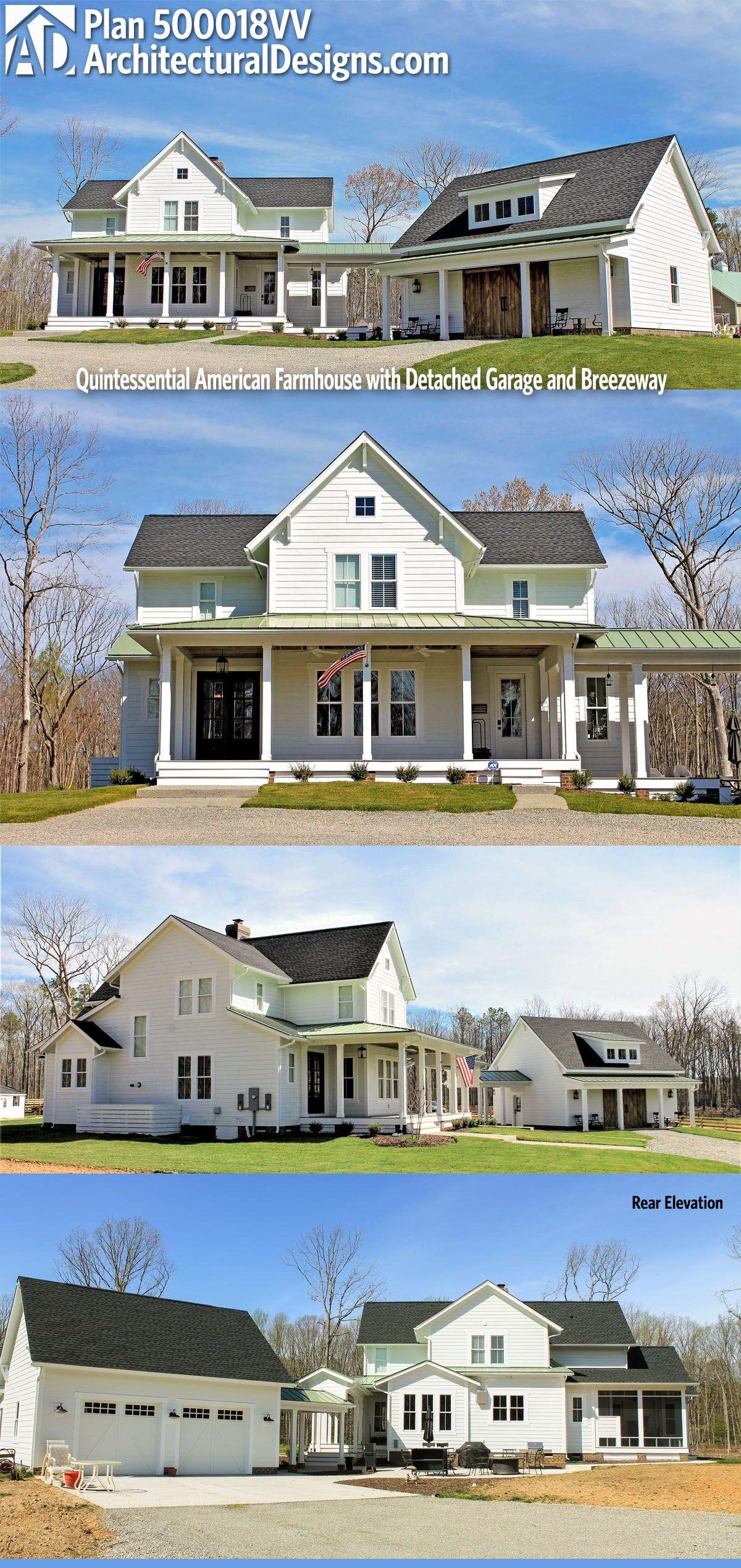 Plan 500018vv Quintessential American Farmhouse With Detached Garage And Breezeway Farmhouse Architecture Farmhouse Plans American Farmhouse