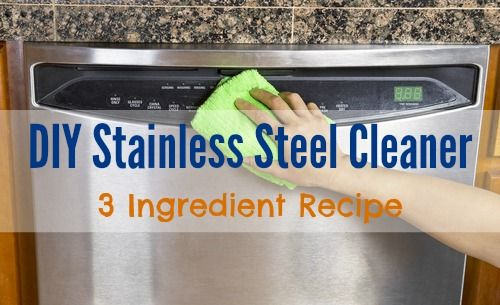 #DIY 3-Ingredient Stainless Steel Cleaner: Just mix water, vinegar, and baking soda into a plastic spray bottle, give it a quick shake, and that's it! #Cleaning #CleaningTips #DIY #AllNatural #Green #GreenCleaning #Cleaning Hacks #StainlessSteel http://www.woodard247.com/2014/05/diy-stainless-steel-cleaner-3-ingredient-recipe/