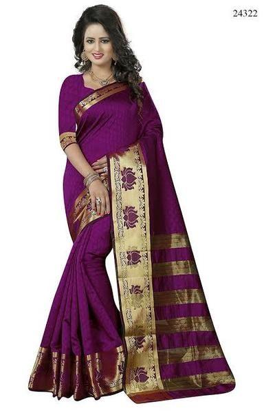 5c6feefd4d5bef Pure Banarasi Silk Sarees Magenta Colored Jacquard Lotus Golden Print Broad  Border Silk Banarasi Saree