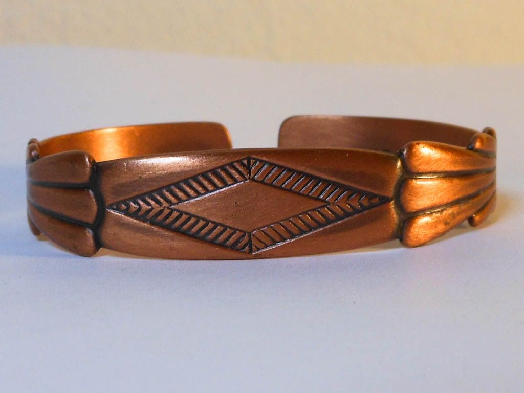 Vintage native american southwest copper cuff bracelet navajo vintage native american southwest copper cuff bracelet navajo medicine man symbol fits small wrist buycottarizona Images