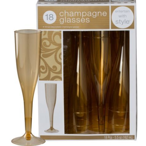 gold premium plastic champagne flutes 18ct party cityto use instead of