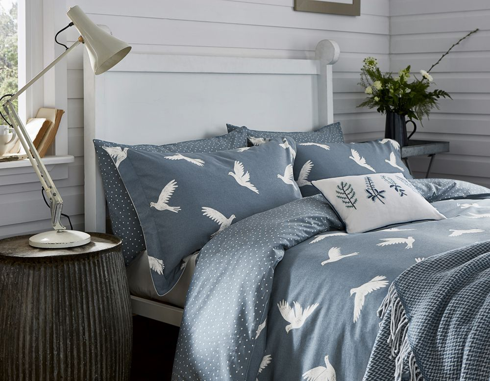 Paper Doves King Size Duvet Cover Denim By Sanderson Brewers Home Home King Size Duvet Covers Duvet Covers