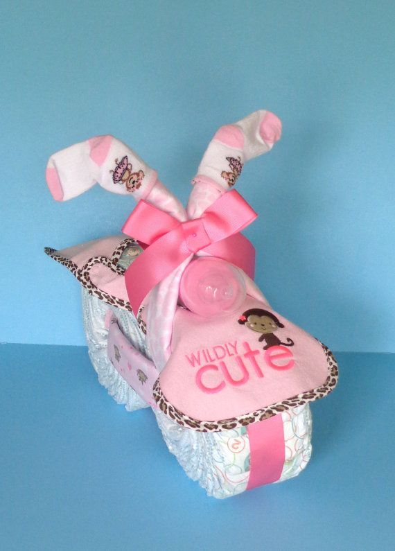 Girl Diaper Cake  Monkey Themed Diaper by PamperedBabyCreation