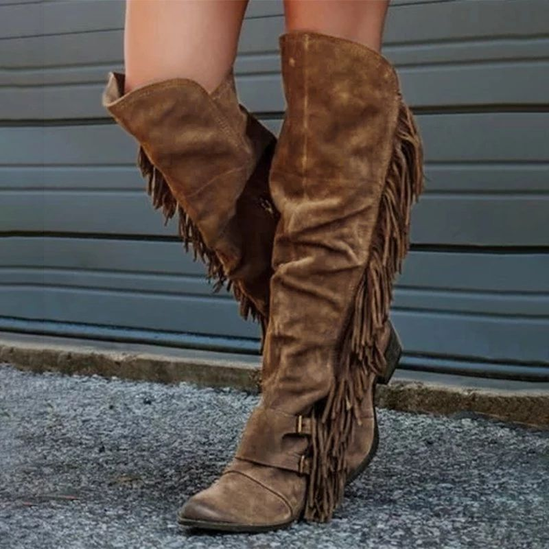 Fashion Womens Low Block Heel Shoes Tassels Punk Party Casual Knee High Booties