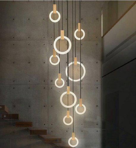 Amazon.com: SanKD Modern Wood Stairway Chandelier Nordic Living Room  Creative