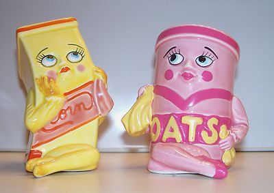 Anthropomorphic Cereal Sisters Miss Corn Miss Oats Salt Pepper Shakers