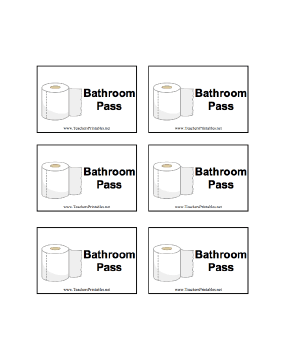 photo relating to Printable Bathroom Passes referred to as A sheet of 6 toilet pes for clroom hire
