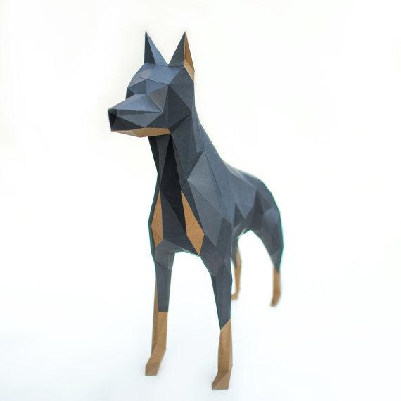 Paper Doberman Geometric Template Dog Diy Low Poly Polygonal Papercraft Free Shipping