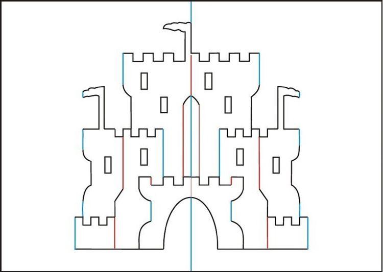 Pop Up Karte Vorlage Zum Ausdrucken.Pop Up Burg Vorlage Zum Ausdrucken Paper Art Karten Pop Up