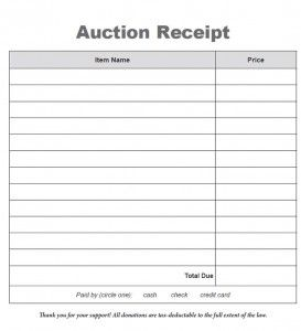 Some Auction Attendees Will Request A Receipt At Check Out This Template Save You Time And Can Be Customized For Your Organization