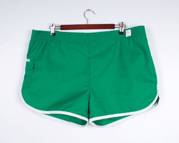 New 70s 80s Men Running Shorts Green Vintage Beach Swimwear Tennis Clothing Athletic Wear Made In USA Size Extra Large
